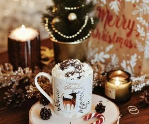 christmas, candle, and coffee image