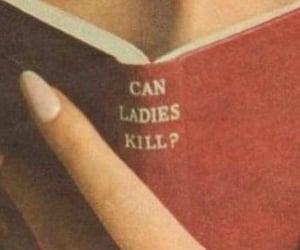 book, red, and lady image