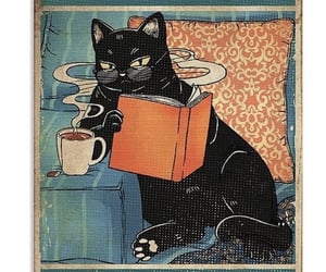 books, cats, and coffee image
