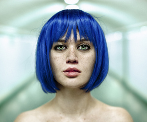 blue hair, beauty, and blue image