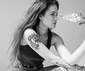 music, black and white, and halsey image