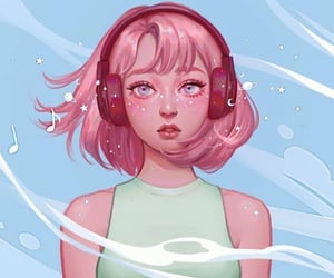 art, pink hair, and Ilustration image