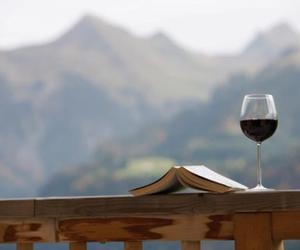 book, nature, and wine image
