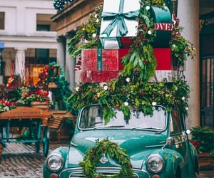 car, flower, and garland image