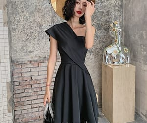 black dress, simple dress, and sleeveless dress image