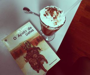 book, winter, and hot chocolate image