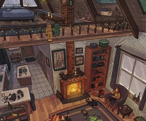 house, illustration, and cozy image