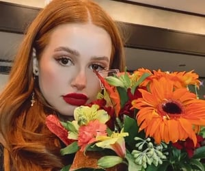actress, beautiful, and flowers image