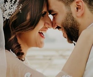 bride, happy, and love image