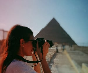camera, pyramids, and sunset image