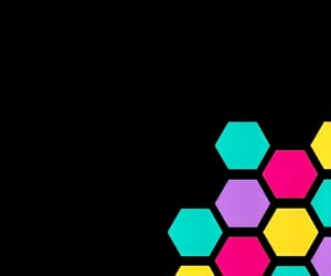 black, hexagon, and colorful image