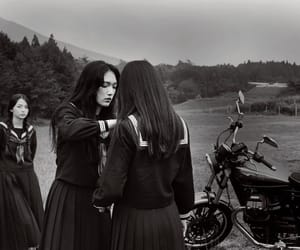 black and white and japan image