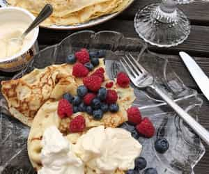 food, berries, and crepes image