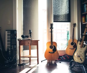 guitar, instrument, and music image