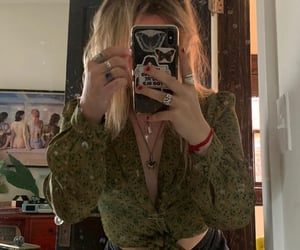 blonde, girl, and green shirt image