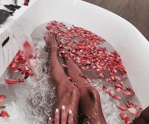 bath, girl, and rose image
