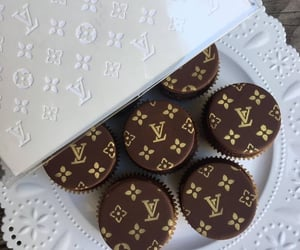 Louis Vuitton, food, and gold image