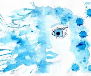 watercolor mermaid, etsy, and naive art image