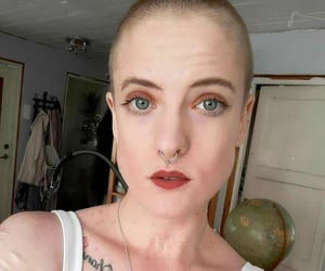 girl, shaved, and makeup image