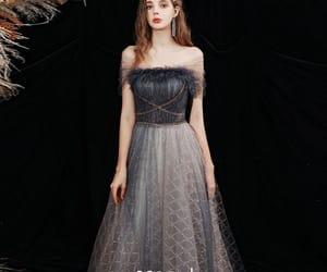 off the shoulder dress, girl, and long dress image