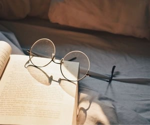 aesthetic, book, and glasses image