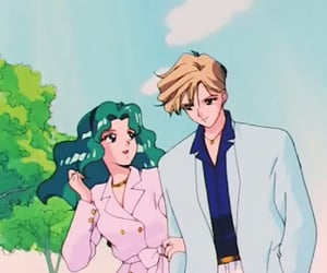 90s, moon, and anime couple image