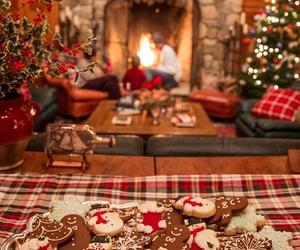 christmas, Cookies, and fireplace image