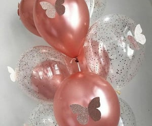 balloons, butterfly, and rose gold image