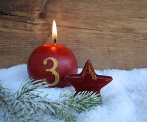 light, snow, and red candle image