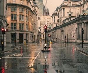 london, rain, and autumn image