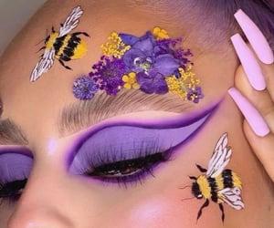 eyebrows, eyeshadow, and flowers image