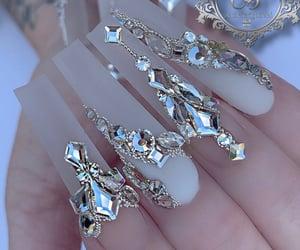 long nails, matte nails, and diamond nails image