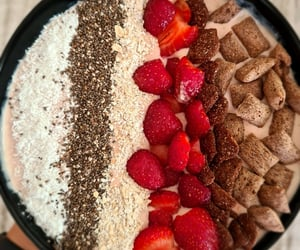 protein, strawberries, and smoothie bowl image