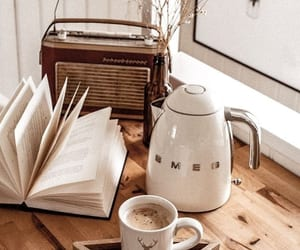 coffee, book, and drinks image
