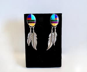Vintage Southwestern Inlay Earrings with Feather Dangles image 0
