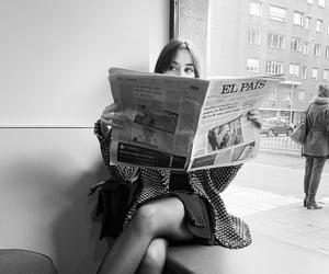 b&w, girl, and newspaper image
