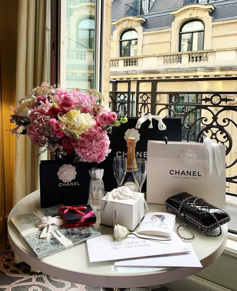 champagne, chanel, and flowers image