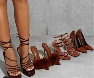 brown shoes, heels, and brown heels image