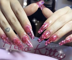 glitter nails, coffin nails, and nails image