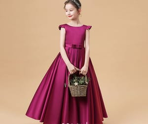 birthday dress, satin dress, and little girl dress image