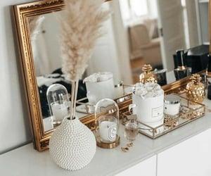 decor, dresser, and gold image