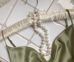 green, pearls, and white image