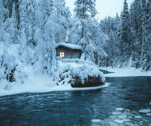 cabin, finland, and snow image