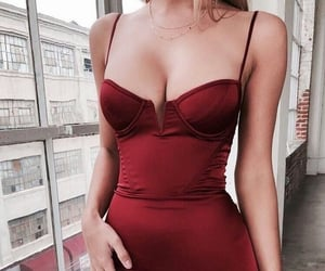 red, dress, and fashion image