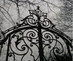 gate, black and white, and dark image