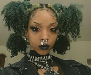 curly hair, green hair, and hairstyle image