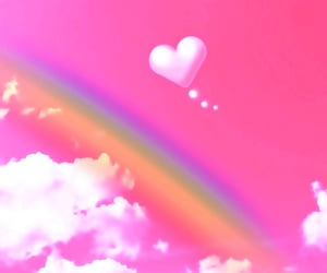 pink, rainbow, and heart-shaped image