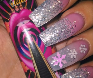 acrylics, snowflakes, and nail ideas image