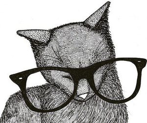 cat, glasses, and art image