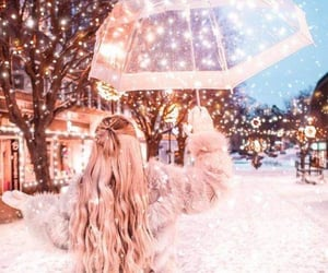 winter, light, and girl image